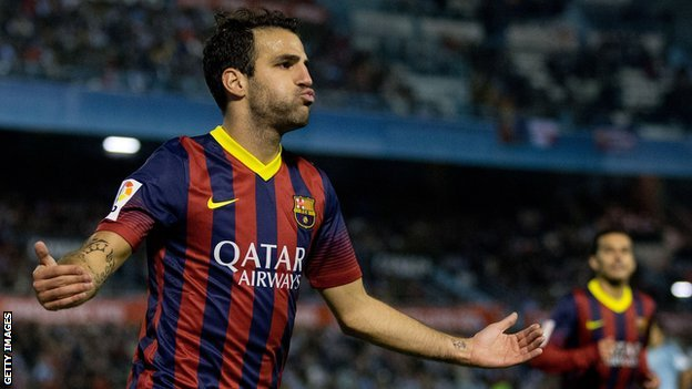 Cesc Fabregas celebrating scoring for Barcelona