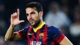 Cesc Fabregas of FC Barcelona celebrates after scoring