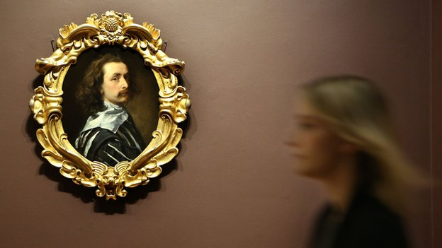 A self-portrait of painter Sir Anthony van Dyck hanging in the National Portrait Gallery