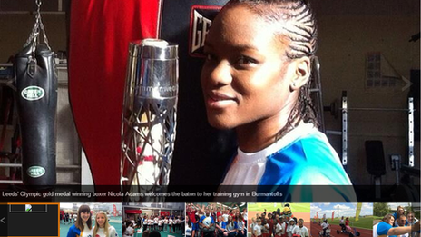 Nicola Adams holds Commonwealth baton in Leeds