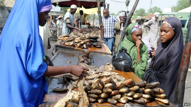 A fish stall in a town market in north-eastern Borno state pictured in 2013