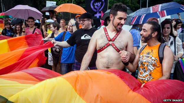 People taking part in the Gay Pride parade in Bucharest, June 2014