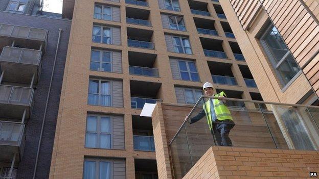 Chancellor George Osborne visits Barratt Homes Help to Buy housing development in Lewisham