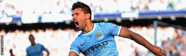 Sergio Aguero scoring for Manchester City