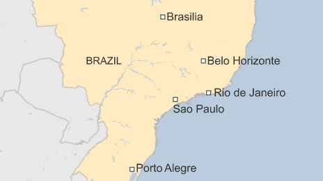 Map of Brazil showing locations of latest protests