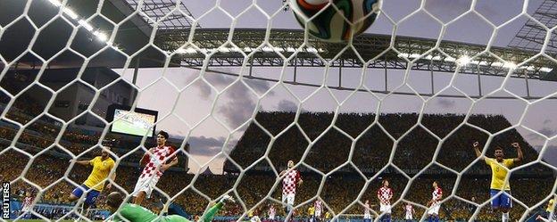 Brazil celebrate Neymar's opener
