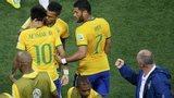 Brazil celebrate Neymar goal