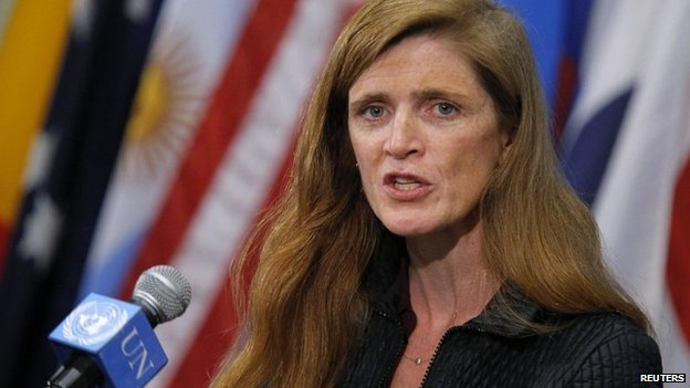 Samantha Power, the US ambassador to the UN, speaks to media at the UN headquarters in New York - 10 April 2014