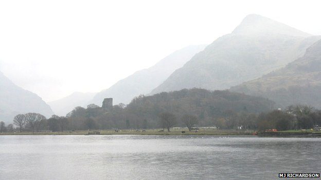 Llyn Padarn, with Dolbadarn castle and Snowdon in the background