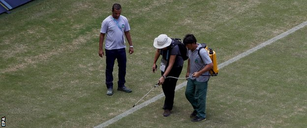 Ground staff appeared to spray the Manaus pitch with green paint.