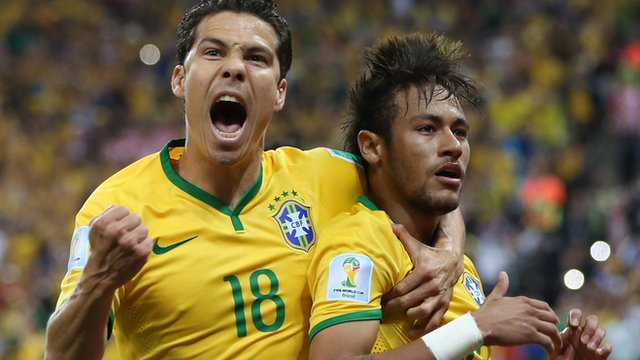 Hernanes and Neymar celebrate Brazil's second goal against Croatia