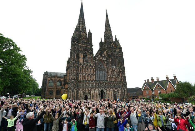 Thumbs up for Stephen at Lichfield Cathedral