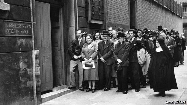 Italian registering as aliens in London in 1940