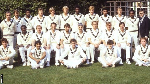 Don Bennett, back row on left, with Middlesex's 1982 County Championship-winning squad