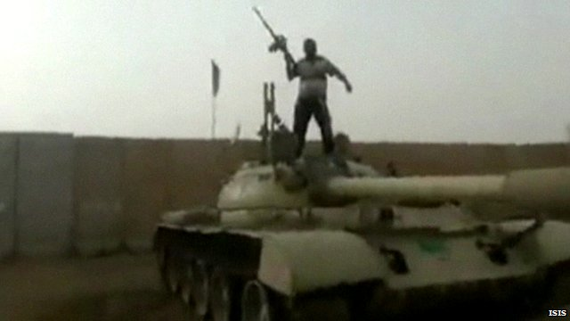 Footage shows ISIS militant on captured government tank