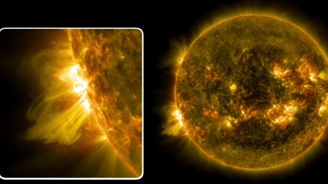 Solar Flare emanating from the Sun