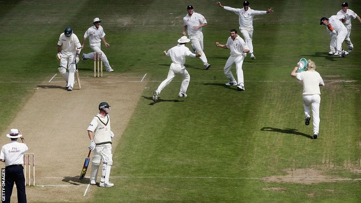 England win the 2005 Ashes Test at Edgbaston