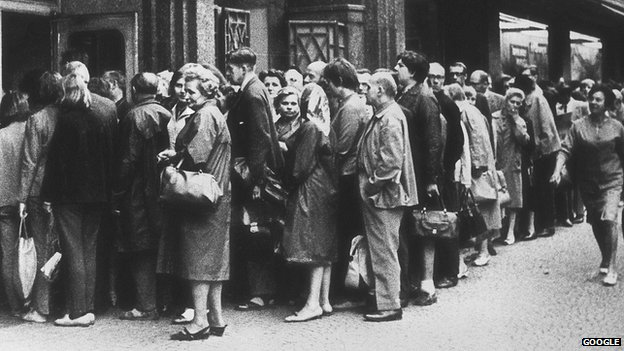 Shoppers queuing for meat, Warsaw, 1980