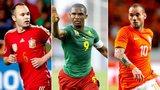 Andres Iniesta, Samuel Eto'o and Wesley Sneijder