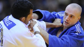 Matt Purssey takes on France's Yves Matthieu Dafreville at the European Judo Championships in 2012
