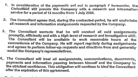 Paragraphs from the 2005 Mulcaire contract
