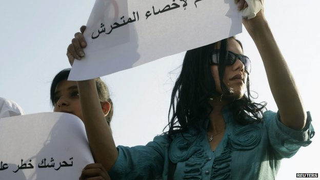 "A female protester holds a sign reading ""Yes to castrating the sexual harasser"" in Cairo (11 June 2014)"
