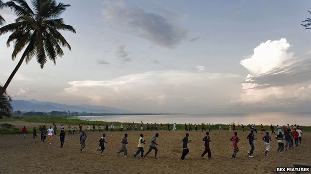 Jogging by Lake Tanganyika