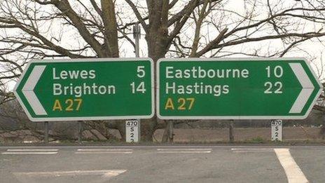 A 27 between Lewes and Polegate