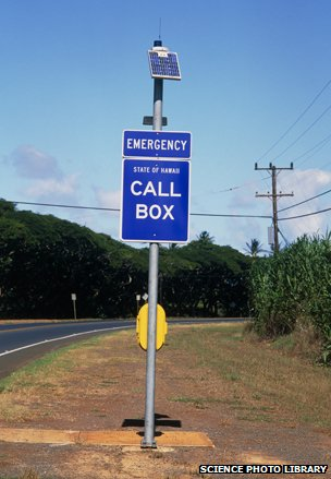 Solar panel emergency call box in Hawaii