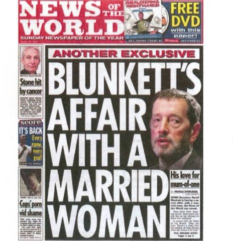 The News of the World's front page revealing David Blunkett's relationship