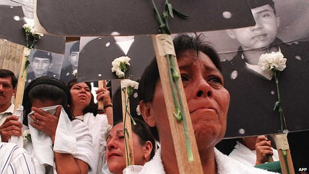 Relatives of kidnapped Colombian soldiers in 1996