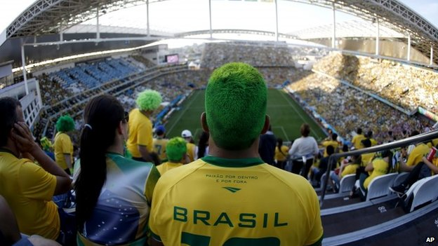 Brazil supporters, Itaquerao, 12 June 14