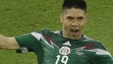 Mexico striker Oribe Peralta celebrates his goal against Cameroon