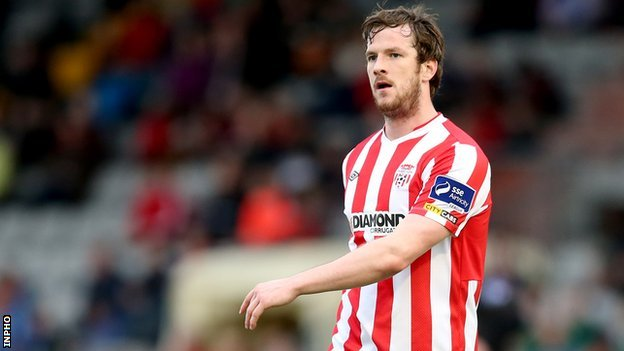 Ryan McBride scored two first-half goals for Derry City