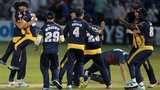 Glamorgan players celebrate securing a draw against Kent