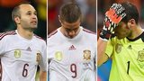 Iniesta, Torres & Casillas look dejected after losing 5-1 to Netherlands