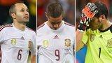 Iniesta, Torres & Casillas look dejected after losing 5-1 to Netherlands