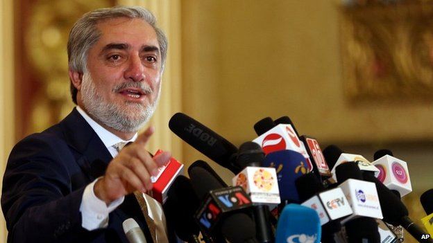 Dr Abdullah Abdullah speaks during a campaign rally in Kabul - 22 May 2014