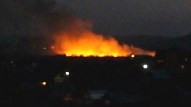 Video 'shows burning plane wreckage'