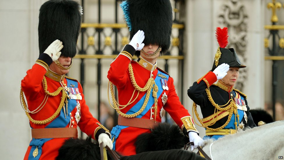 The Prince of Wales, The Duke of Cambridge and the Princess Royal leave Buckingham Palace to attend the Trooping the Colour ceremony on 14 June 2014