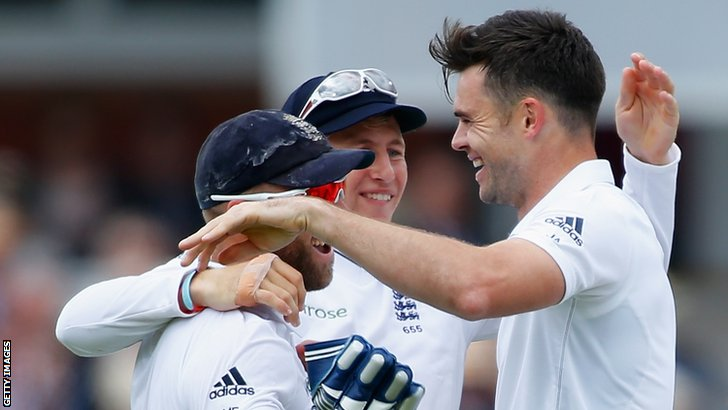 England's Matt Prior and James Anderson