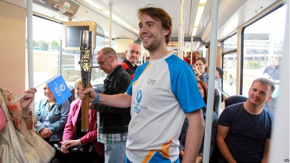 Allan Dick carried the baton on the tram from Murrayfield to Shandwick Place