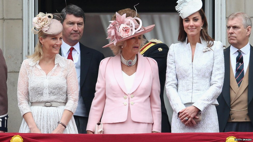(l-r) Countess of Wessex, Duchess of Cambridge, Duchess of Cornwall and Prince Andrew on the balcony during during Trooping the Colour on 14 June 2014