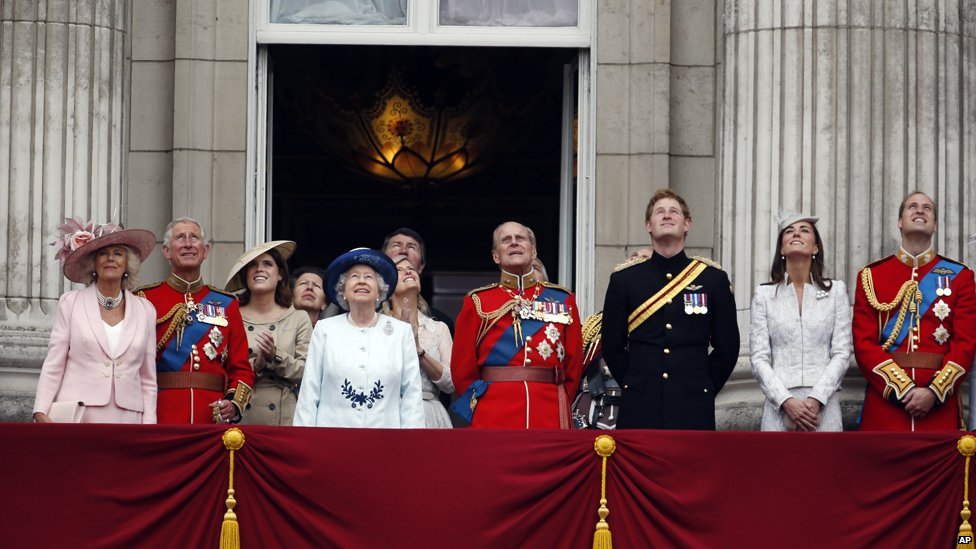 Royal family on balcony of Buckingham Palace during the Trooping the Colour parade on 14 June 2014