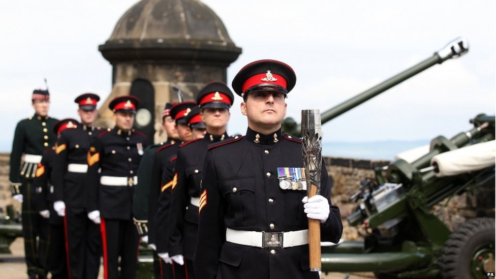 The baton was greeted by a 21-gun salute at Edinburgh Castle to mark the Queen's official birthday