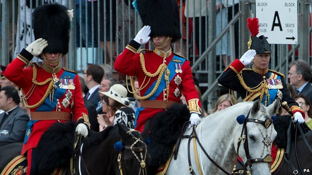 Prince of Wales, Duke of Cambridge and the Princess Royal at Trooping the Colour on 14 June 2014
