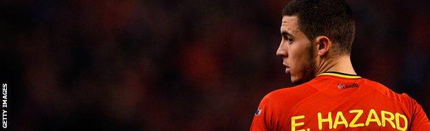 Eden Hazard playing for Belgium.
