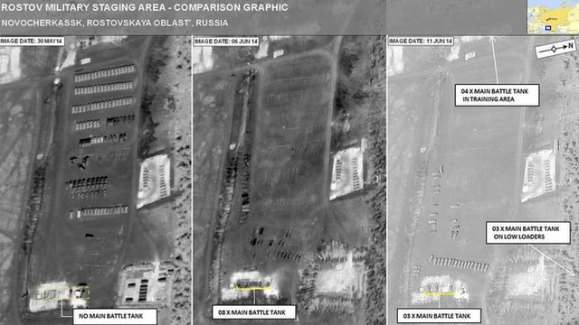 Satellite picture of a Russian military facility near the Ukraine border, provided by Nato