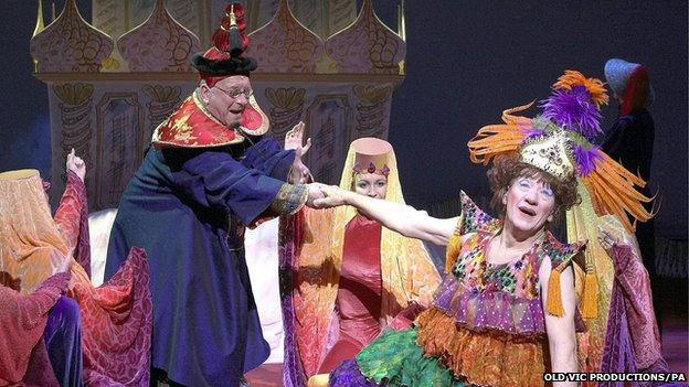 Sam Kelly as the emperor, alongside Sir Ian McKellen as Widow Twankey, during the Old Vic production of Aladdin in London on 18 December 2004
