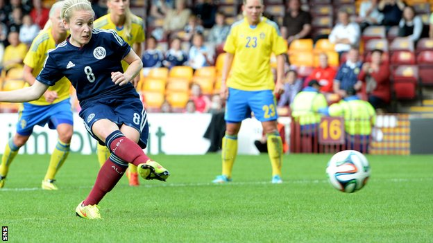 Scotland star Kim Little slots home from the penalty spot to square the game at 1-1